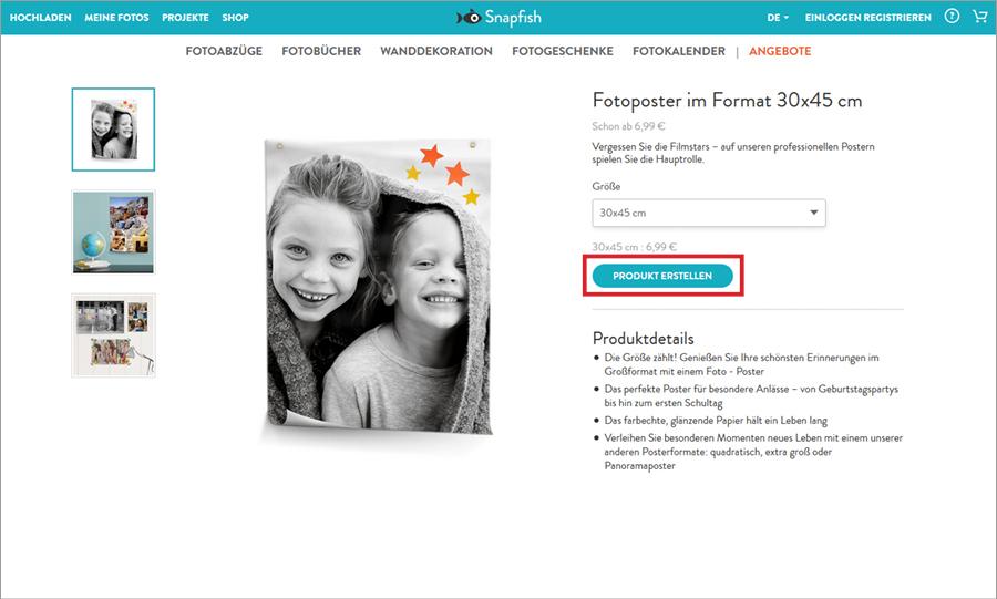 Fotocollage gestalten: Produkt wählen bei Snapfish