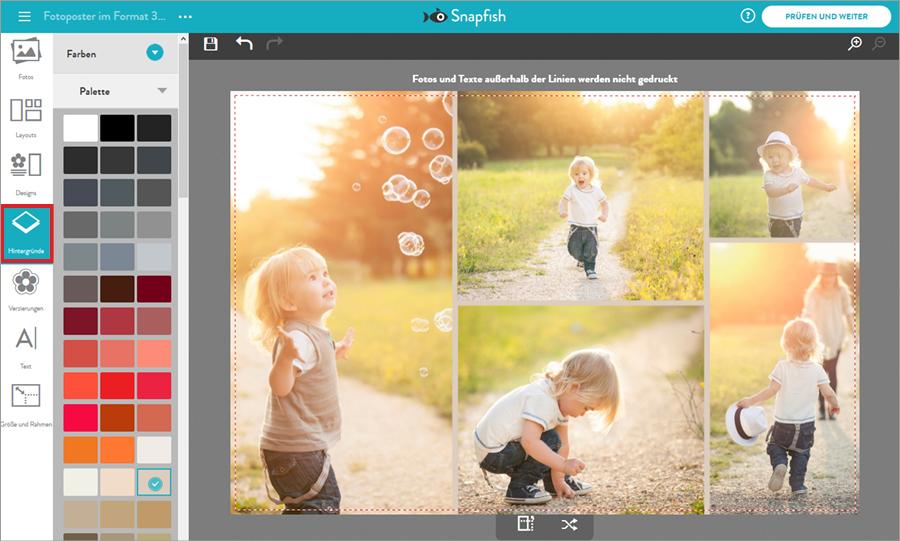 Fotocollage bei Snapfish gestalten: Hintergrund hinzufügen