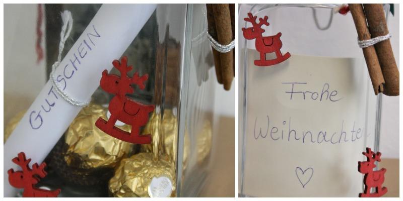 Einmachglas als Verpackung für Gutschein zu Weihnachten